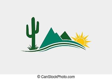 logotipo, cacto, desierto, ilustración, occidental