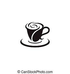 logotipo, caffè, vettore, tazza, rosa