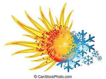 logotipo, caliente, y, frío