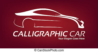 logotipo, calligraphic, car