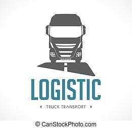logotipo, -, camión, logístico