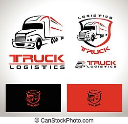 logotipo, camion, roulotte