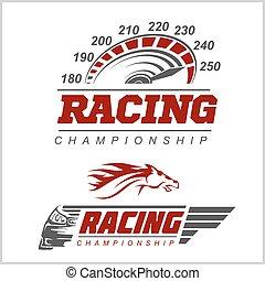 logotipo, campeonato, correndo