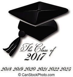 logotipo, cappello, graduazione