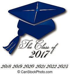 logotipo, cappello, graduazione, icona