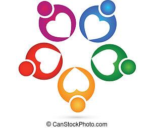 logotipo, caridad, trabajo en equipo, corazones