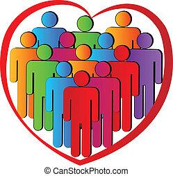 logotipo, caridade, trabalho equipe, pessoas, coração