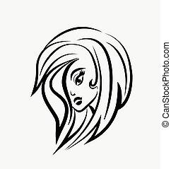 logotipo, carino, donna