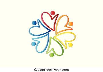 logotipo, carità, lavoro squadra, persone