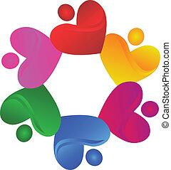 logotipo, carità, vettore, lavoro squadra, cuori