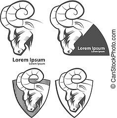 logotipo, carnero, deporte