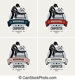 logotipo, carpinteiro, design.