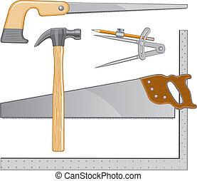 logotipo, carpinteiro, ferramentas