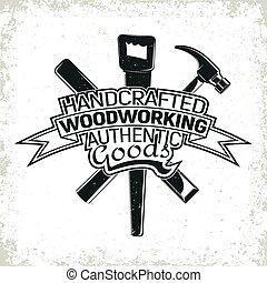 logotipo, carpintería, vinatge