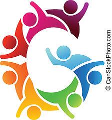 logotipo, carta g, pessoas