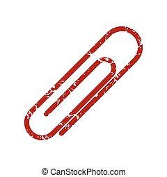 logotipo, carta, grunge, rosso, clip
