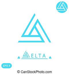 logotipo, carta, plantilla, delta