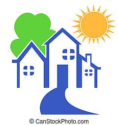 logotipo, casa, árvore, sol