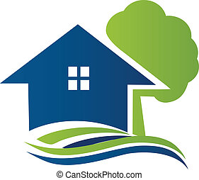 logotipo, casa, albero, onde