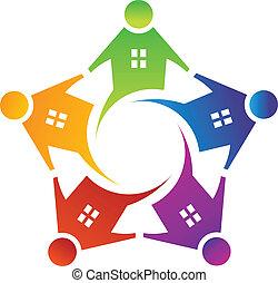 logotipo, casa, círculo, vector, gente