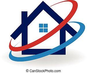logotipo, casa, cold-hot, aire
