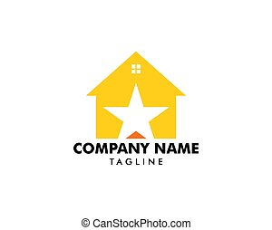 logotipo, casa, disegno, stella, elemento