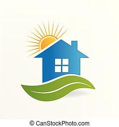 logotipo, casa, folha, e, sol