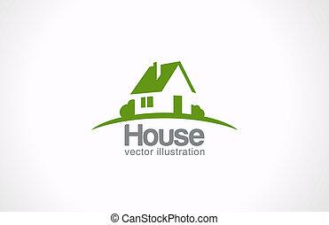 logotipo, casa, resumen, bienes raíces, countryside., bienes...