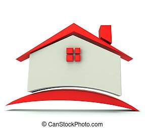 logotipo, casa, techo, ilustración, rojo