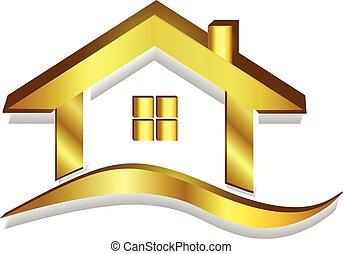 logotipo, casa, vector, oro, 3d
