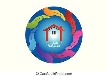 logotipo, casa, vetorial, ao redor, mãos