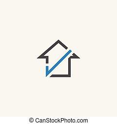 logotipo, casa, vettore, assegno, icona