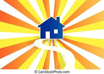 logotipo, casa, vettore, strada, sole