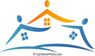 logotipo, casas, equipe, pessoas