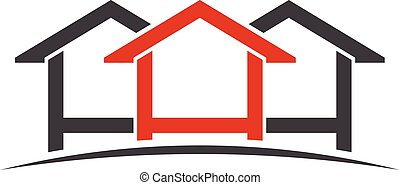 logotipo, casas, gráfico, vetorial, design.