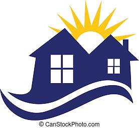 logotipo, casas, sol, ondas