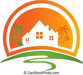 logotipo, casas, sol, palmas