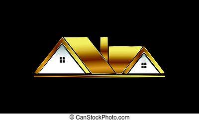 logotipo, case, vendita, dorato