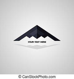 logotipo, cautela, avión, avión, logotype