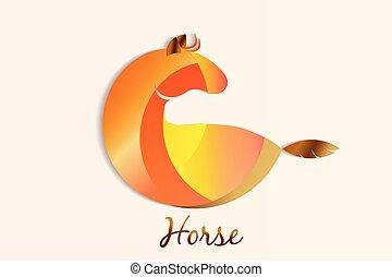logotipo, cavallo, cartone animato