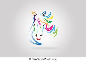 logotipo, cavallo, testa, bellezza