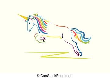logotipo, cavallo, unicorno, fantasia