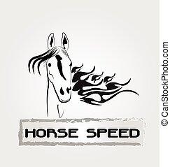 logotipo, cavallo, velocità