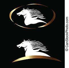 logotipo, cavallo, vettore, bianco, oro