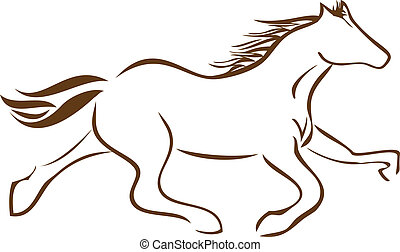 logotipo, cavallo, vettore, da corsa, casato