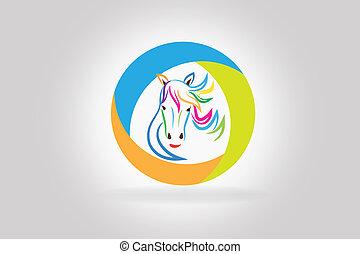 logotipo, cavallo, vettore, testa, colorito