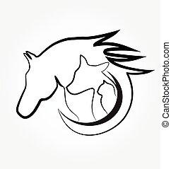 logotipo, cavalo, gato, e, cão