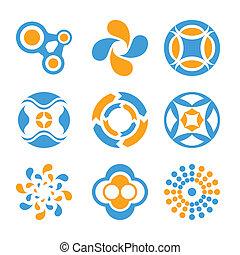 logotipo, cerchio, elementi