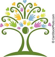 logotipo, childcare, árvore, mãos