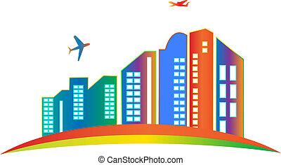 logotipo, cidade, arranha-céu, predios